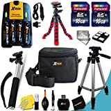 Mega Pro 19 Piece Accessory Kit for Canon Powershot SX160 IS, SX150 IS, SX130 IS, SX120 IS, SX110 IS, SX100 IS, SX20 IS, SX10 IS, SX5 IS, SX3 IS, SX2 IS, SX1 IS, A720 IS, A710 IS, A2100 IS, A2000 IS, A1400 , A1300 , A1200 , A1100 IS , A1000 IS, A810, A800, A700, A650, A640, A630, A620, A610, A570 IS, A560, A550, A540, A530, A520, A510, A495, A490, A480, A470, A460, A430, A420, A410, A400, A300, A200, A100, A95, A85, A80, A75, A70, A60, A40, A20, A10 Digital Cameras Includes 4 AA High Capacity 3100mAh Rechargeable Batteries with Quick AC/DC Charger + 32GB High Speed Memory Card + 12
