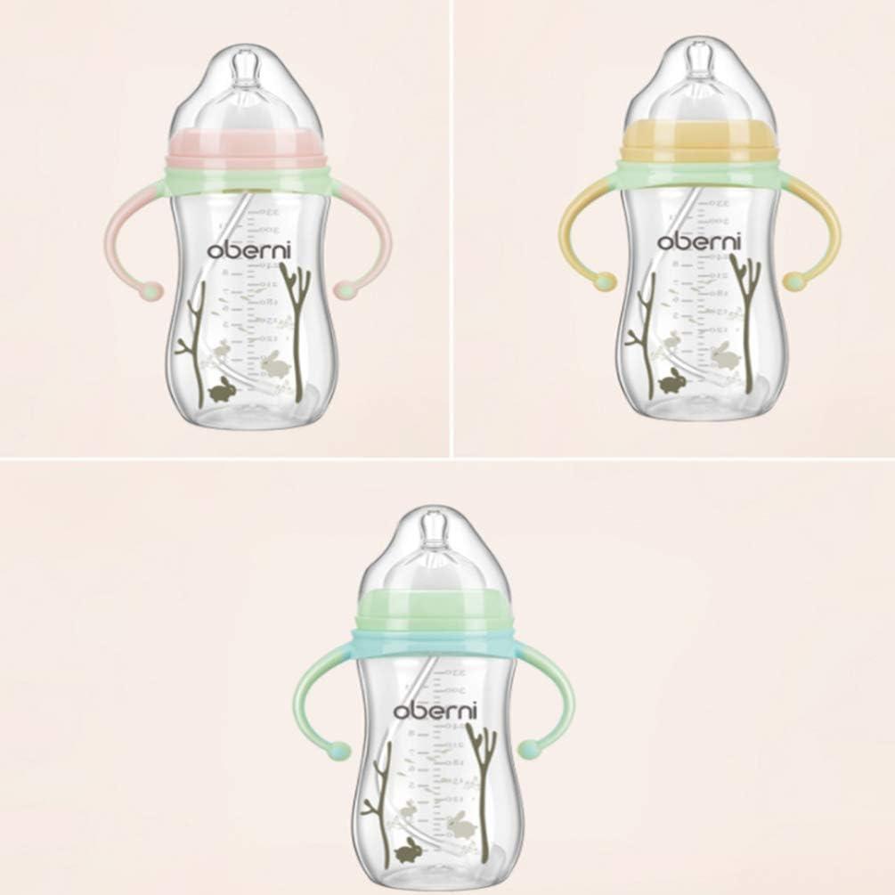 NUOBESTY Stillflasche Babyflaschen Muttermilch Muttermilch Aufbewahrungsflaschen Brust/ähnliche Nippelflasche mit Griff Gelb