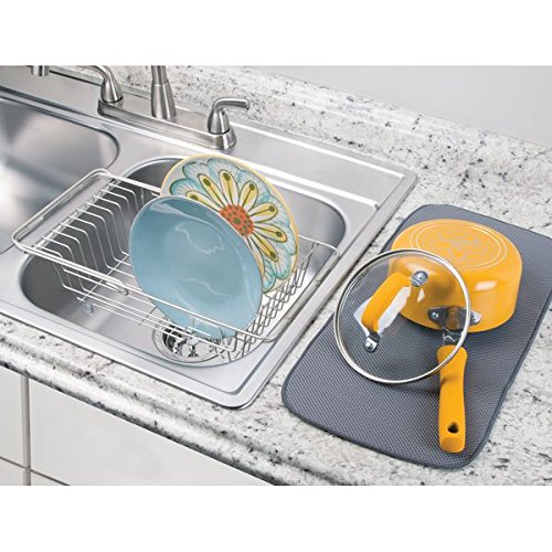 Amazon.com: mDesign Kitchen Over-the-Sink Dish Drainer Rack for ...