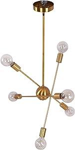 OYIPRO Sputnik Chandelier, 6 Lights Chandelier Pendant Lighting Mid Century Modern Industrial Starburst Style Ceiling Lamp Light Fixture for Flat and