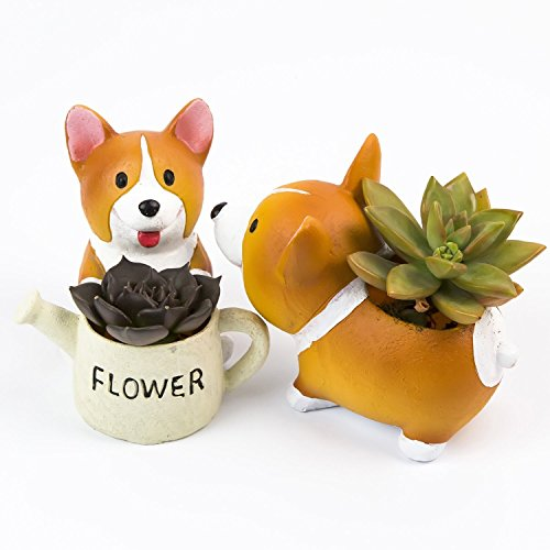 Supla Lovely Corgi Dog Shaped Plant Decor Succulent Planter Decorative Flower Pot 2 In Set by Supla