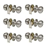 6 Pack Probrico Round Door Knobs Privacy Door Lock Handle Keyless Lockset Storage Room Bathroom Set No Key in Satin Nickel