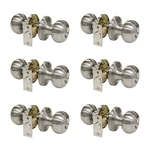 Gobrico Satin Nickel Keyless Privacy Round Door Knobs Hardware Bed and Bathroom Lock Set Leverset 6Pack