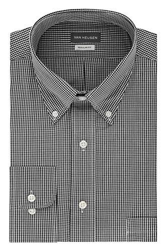 Van Heusen Men's Regular Fit Gingham Button Down Collar Dress Shirt, Black, XX-Large