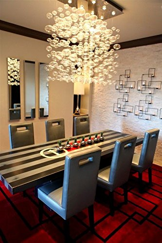 Siljoy Modern Rectangular Bubble Glass Chandelier Lighting For Dining Room  L31.5u0026quot; X W11