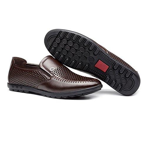 los ZX Respirable los de Cuero mocasín perforación Hombres de los on Slip Plano Marrón Hombres Forrado para Genuino Holgazanes Suave Zapatos Suave rrfEx8F