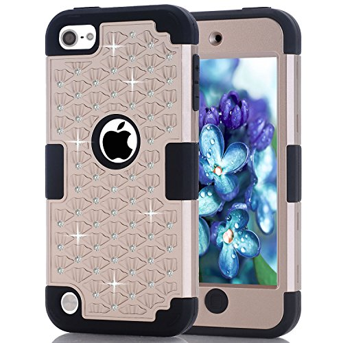 - iPod Touch 5 Case, iPod Touch 6 Case, Easytop Diamond Studded Crystal Rhinestone 3 in 1 Bling Hybrid Shockproof Silicone and Hard PC Cover Case for Apple iPod Touch 5 6th Generation (Gold + Black)