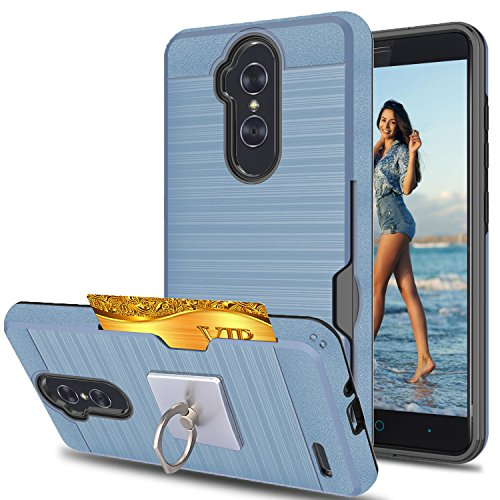 ZTE Imperial Max/ZMAX Pro Z981/Kirk Z988/Grand X Max 2/Max Duo LTE Case With Phone Stand,Ymhxcy [Credit Card Slots Holder] Dual Full-Body Shockproof Protective Cover Shell For Z981-LCK Metal Slate