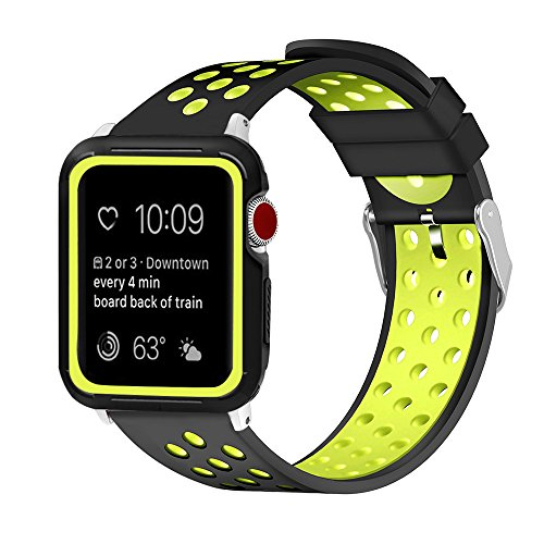 Price comparison product image Iwatch Tow-Tone Bicolors Wristband & Screen Case Set Watch Parts Silicone Watch Band Watch Replacement Watch Band Series 1 2 3 Watch Holder Watch