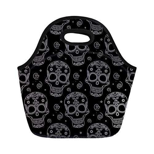 Semtomn Neoprene Lunch Tote Bag Day Funny Colored Skull Dulce Muerte Dead Pattern Sugar Reusable Cooler Bags Insulated Thermal Picnic Handbag for Travel,School,Outdoors,Work -