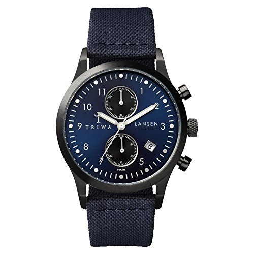 Triwa Lansen Chrono Wrist Watch w/ Canvas Band (Navy)