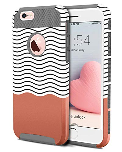 BENTOBEN Case for iPhone 6 Plus, Case for iPhone 6s Plus, Slim Dual Layer Hard Shell Soft TPU Shockproof Wave Hybrid Protective Covers for iPhone 6 Plus iPhone 6s Plus, Gray