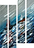 "Sailboats in the Sea Storm - Handpainted Nautical Metal Wall Art Hanging - Set of Four Aluminum Panels of 38"" x 25"""