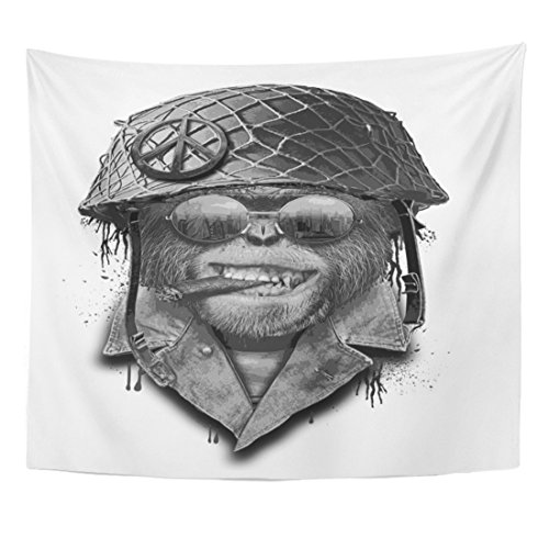Emvency Tapestry Gorilla Portrait Monkey Military Helmet Animal Vintage Army Aviation Home Decor Wall Hanging for Living Room Bedroom Dorm 50x60 Inches