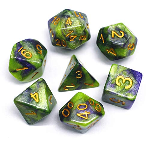 (HD DND Polyhedral Dice Set RPG Green Jade Dice Compatible Dungeons and Dragons Role Playing Game,MTG,Pathfinder Dice Set (Purple-Green))