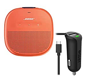 Bose SoundLink Micro Waterproof Bluetooth Speaker, Bright Orange, with Micro USB Car Charger