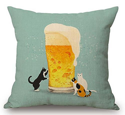 - Cartoon Painted Lovely Animal Adorable Cat Beer Fish Funny Daily Life Cotton Linen Decorative Throw Pillow Case Cushion Cover Square 18