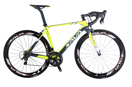 Cheap SAVADECK Graceful 1.0 700C Road Bike T800 Carbon Fiber Frame / 50MM Wheelset / Fork / Handlebar / Seatpost / Headset with SHIMANO 6800 22 Speed System Maxxis 23C Tire and Fizik Saddle 18.1lbs Yellow