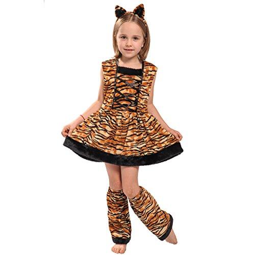 EraSpooky Halloween Girl's Tigress Cute Tiger Costume Dress(As Picture, (Girl Guide Costume Fancy Dress)