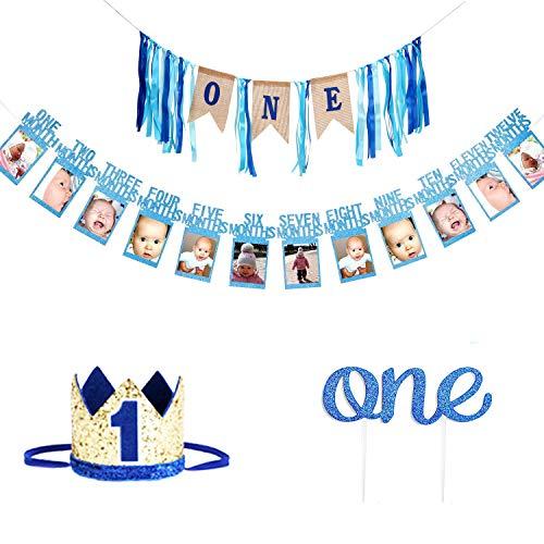 (1st Birthday Boy's Decoration kit,GoodYH Baby Boy First Birthday Decorations High Chair Banner - Happy Birthday ONE Burlap Banner, Baby Photo Banner,No.1 Crown, Glitter Cake)