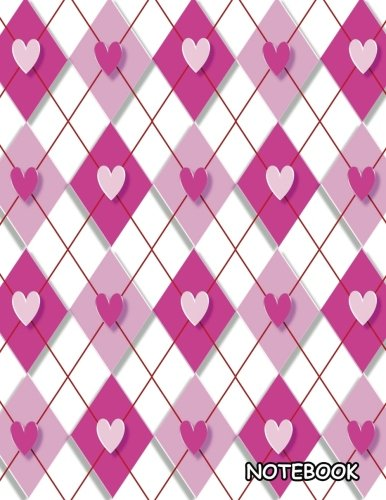 Notebook: Pink & White Heart Background, Blank Unlined / Non-ruled Notebook - (Letter size 8.5 x 11 Inches) 100 Pages - -