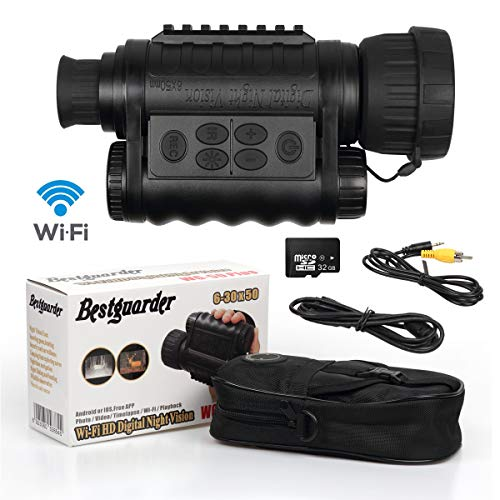 Bestguarder WG-50PLUS 6x50mm WiFi Digital Night Vision Infrared IR Monocular with Camera & Camcorder Function Takes 12mp Photo & 720p Video from 1300ft Distance for Night Hunting or Viewing from Bestguarder