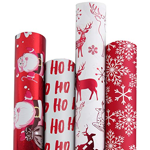 (RUSPEPA Christmas Gift Wrapping Paper-Red and White Paper with a Metallic foil Shine-Christmas Elements Collection-4 Roll-30Inch X 10Feet Per Roll)