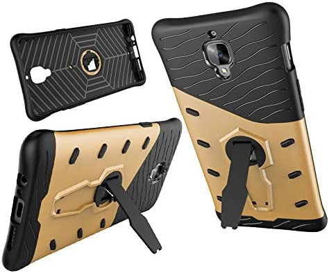 ArmorBox gold Hybrid Shock Proof Rugged Case Shell Cover Bummper for OnePlus 3T // OnePlus 3 Dual Layer Kickstand OnePlus 3T // OnePlus 3 Case,Heavy Duty Armor