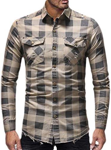 Wofupowga Mens Business Lapel Neck Plaid Long Sleeve Curved Hem Button Down Shirts