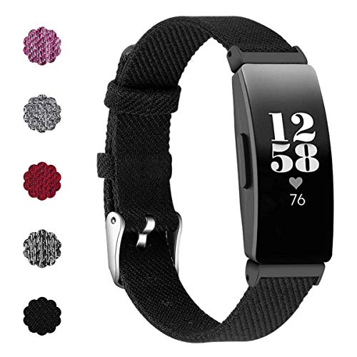 NANW Compatible with Fitbit Inspire HR Bands/Inspire Bands, Woven Fabric Breathable Replacement Wristband Strap Accessories Women Men Small Large