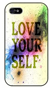 iPhone 5 / 5s Love yourself, vintage, black plastic case / Inspirational and motivational life quotes / SURELOCK AUTHENTIC