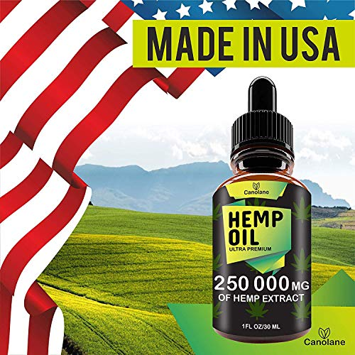 51J%2B6wnMr0L - Hemp Oil Drops, 250 000 mg, Natural CO2 Extracted, 100% Organic, Pain, Stress, Anxiety Relief, Reduce Insomnia, Vegan Friendly, Zero CBD, Zero THC