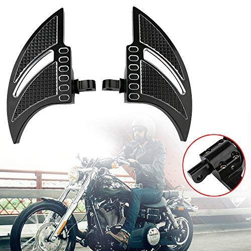 HEQIANG One Pair Bat Flame Billet Floor Boards Pedal Rear Passenger Tomahawk Hollow Floorboards Foot Pegs Rest for Harley Davidson Motorcycle Street/Sportster/Softail/Touring
