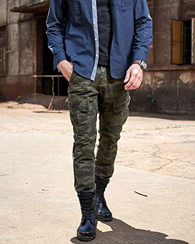 Cotone Pantaloni In Jogging Cargo Uomo Dunkelgrün Semplice Camouflage Da Stretto Casual Stile Lunghi qvqrRx4w