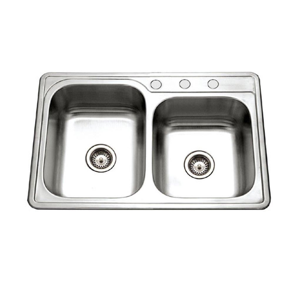 Houzer ISL-3322BS3-1 Glowtone Series Topmount Stainless Steel 3-hole 60/40 Double Bowl Kitchen Sink