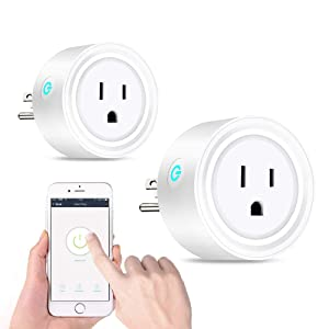 Wifi Smart Plug Mini WiFi Socket Work with Alexa/Google Home, Wireless Outlete with Timer Function, Voice Control No Hub Required, Smart Life Free APP Remote Control Your Home Appliances from Anywhere