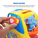 SGILE Auto-Sensing Happy Elephant Educational Musical Car Toy with Transforming Animal Block Shapes and Various Sounds and Omni-directional Wheel