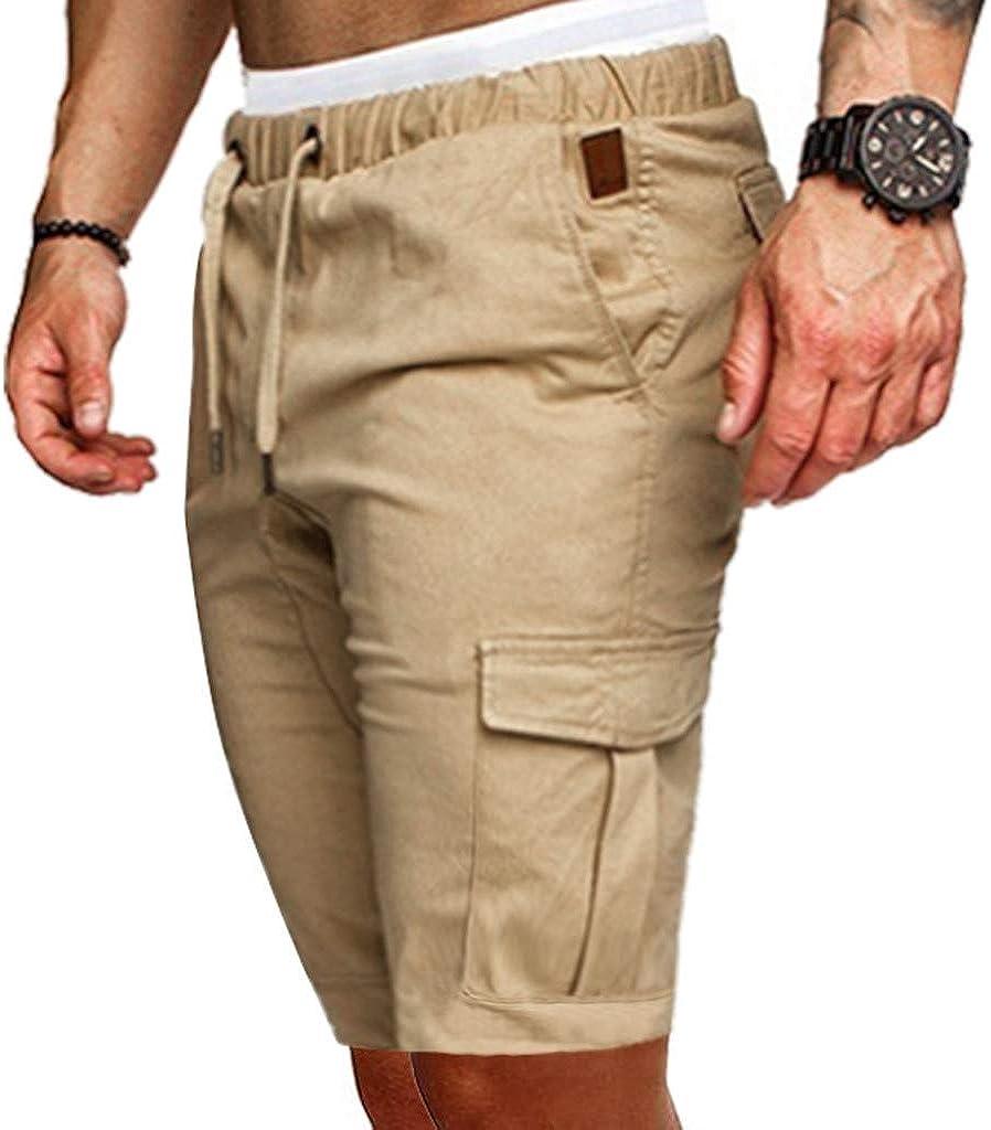 wodceeke Fashion Solid Color Short Pants Elastic Waist Men Sweatpants Slacks Casual Sport Baggy Pockets Trousers
