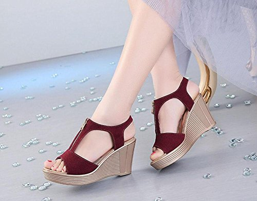 Girls L@YC Women Summer Sandals Waterproof Platform Leather High Heeled Fish Mouth Large Slope With 2017 Shoes , red , 34