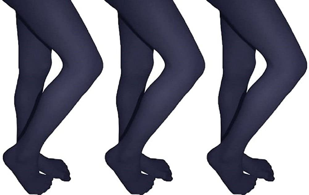 Butterfly Girls Lycra Opaque School Tights Uniform Footed Stocking 3 Pack