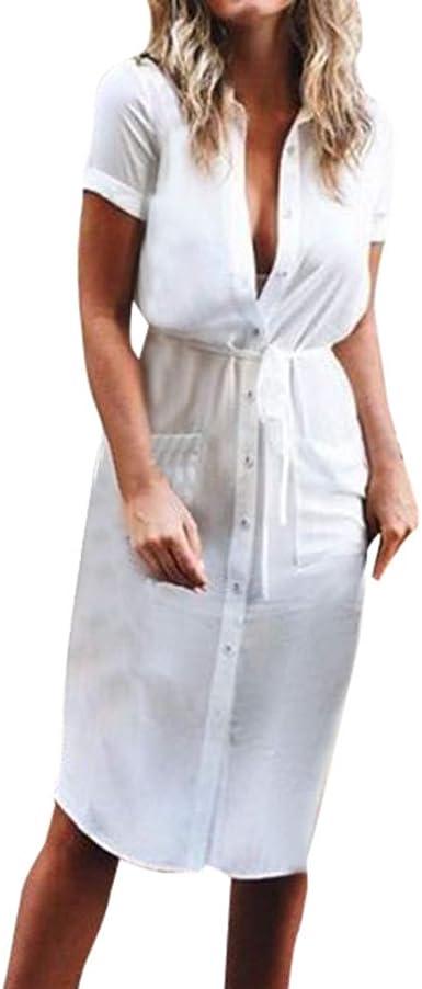 Vestidos para Mujer, Fiesta Vestido Verano Casual Vestidos Sexys Cuello en v Blusa Camisa Color sólido Vestidos Cortos Vestido de Noche Vestido de cóctel vpass: Amazon.es: Ropa y accesorios