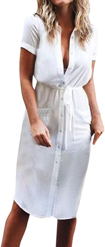 Sayla Vestidos Mujer Verano Mini Fiesta Largo Boho Boda Sexy Elegantes Gala Casual Manga Corta V-Cuello BotóN SóLido Abajo Encaje Arriba Mini Camisa Vestido: Amazon.es: Ropa y accesorios