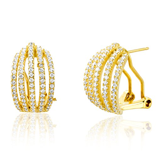 18K White / Gold Over Sterling Silver Cubic Zirconia 5 Strand Open Pave Omega Huggie Hoop Earring (18K (Rent Costumes Online)