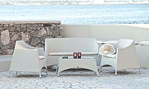 SALOTTINO Menorca blanco o Caffe estructura aluminio polyrattan 4 unidades