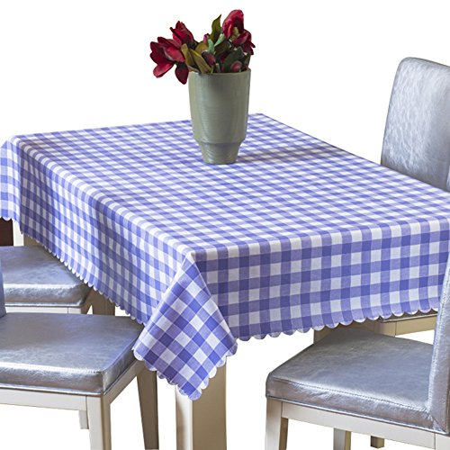 Uforme Classic Purple Checks Table Cloth Vinyl Spill Proof and Oil Proof for Dinning Room, 42 Inch By 60 Inch ()