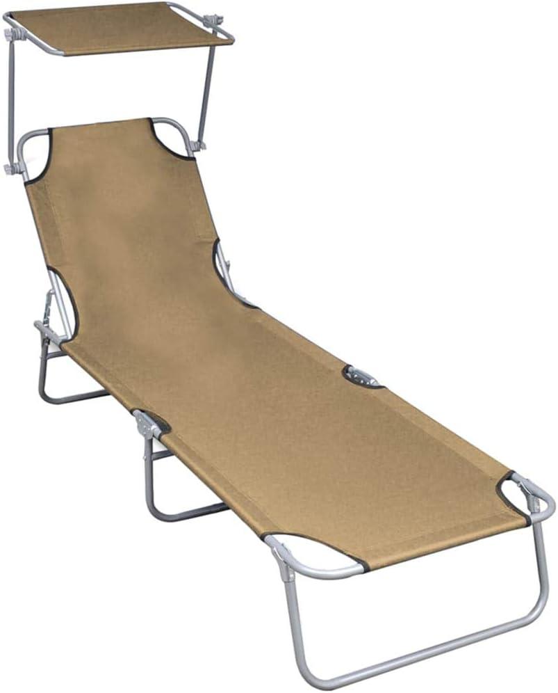 vidaXL Chaise Longue Pliable avec Auvent Chaise Longue de Jardin Chaise Longue de Patio Chaise Longue de Terrasse Piscine Ext/érieur Taupe Aluminium