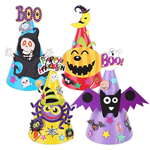 Fullsexy 4 Pcs Halloween Party Hats Cartoon Paper Cap Ornament Hat for Children Kids (Skull Bat Pumpkin Spider)