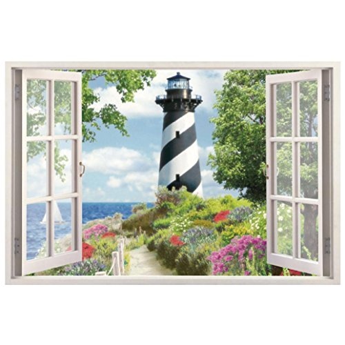Staron 3D Ocean Sea Lighthouse DIY Wall Stickers Art Mural Sticker Home Decors Bedroom Living Room Window Wall Decals ()