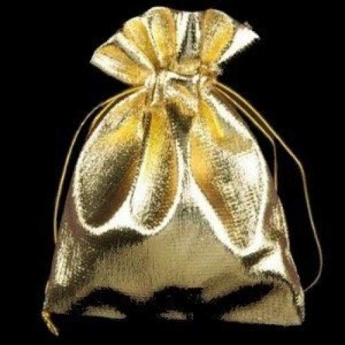 10 pieces Organza Bags / Jewellery Pouches - 10x9cm - Gold Satin