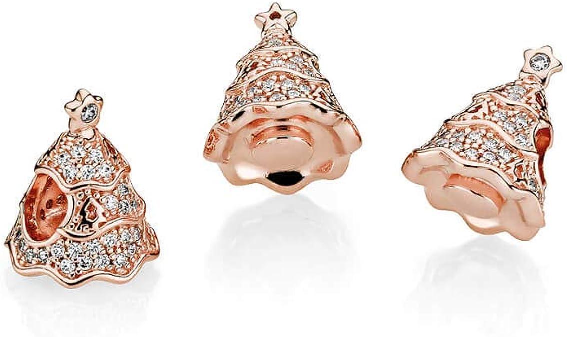 Amazon Com Pandora Twinkling Christmas Tree Rose Charm Clear Cubic Zirconia 781765cz Jewelry